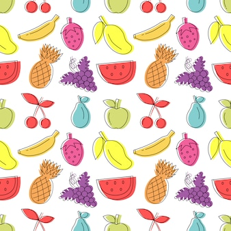 Colorful hand drawn fruit seamless pattern with white background.