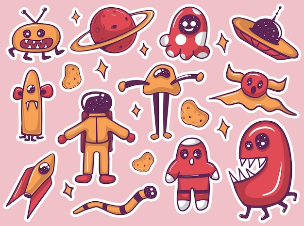 Colorful hand drawn funny alien monsters stickers collection