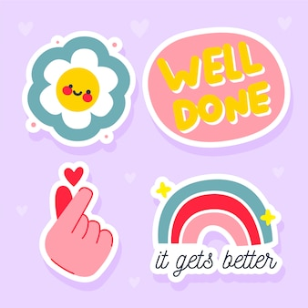 Colorful hand drawn funny sticker pack