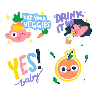 Colorful hand drawn funny sticker set