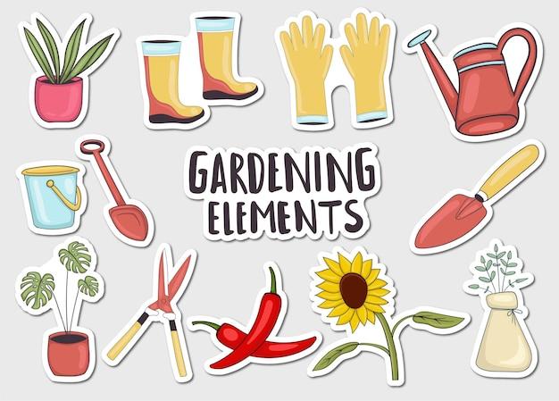 다채로운 손으로 그린 원 예 요소 스티커 컬렉션