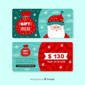Colorful hand drawn gift voucher template