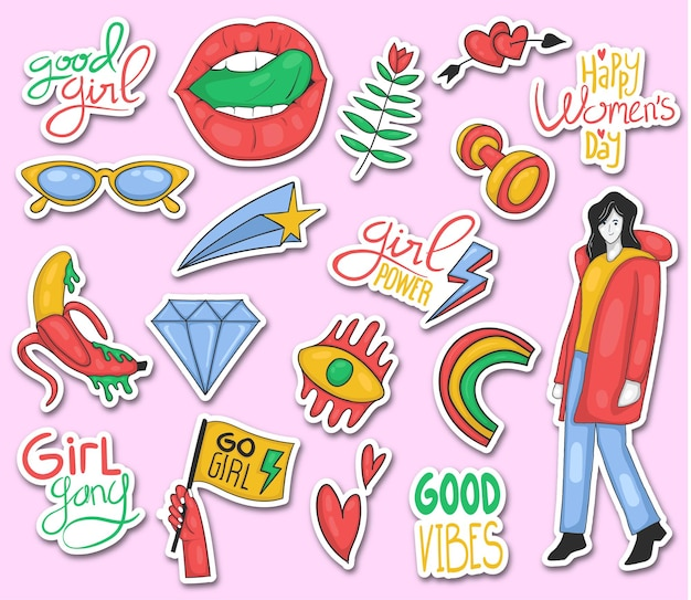 Colorful hand drawn girl power stickers collection