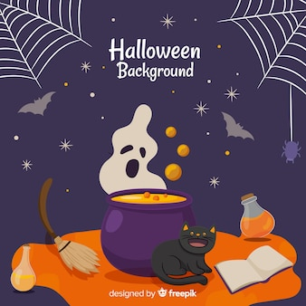 Colorful hand drawn halloween background