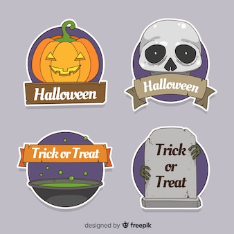 Colorful hand drawn halloween badge collection