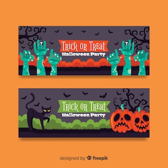 Colorful hand drawn halloween banners