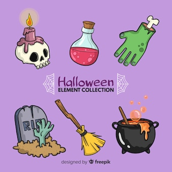 Colorful hand drawn halloween element collection