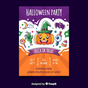 Colorful hand drawn halloween party poster