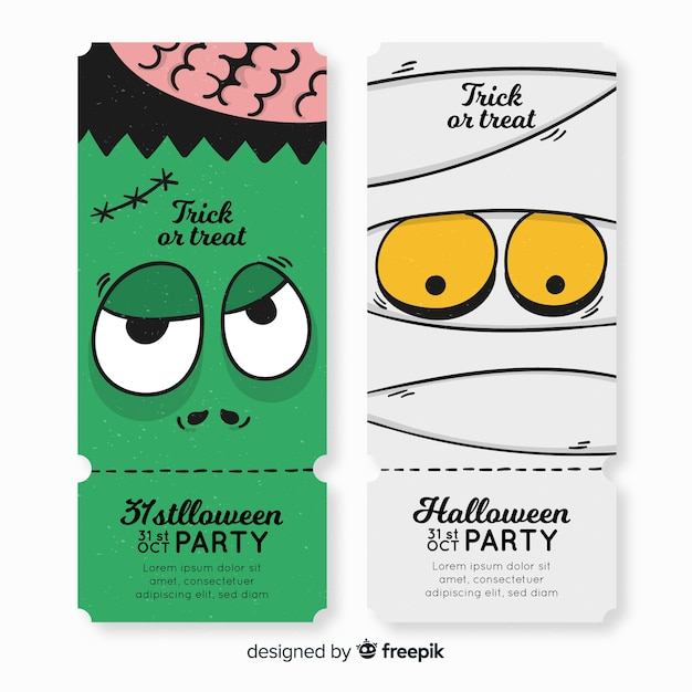 Free Colorful Hand Drawn Halloween Party Ticket Template Svg