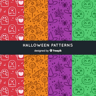 Colorful hand drawn halloween pattern collection
