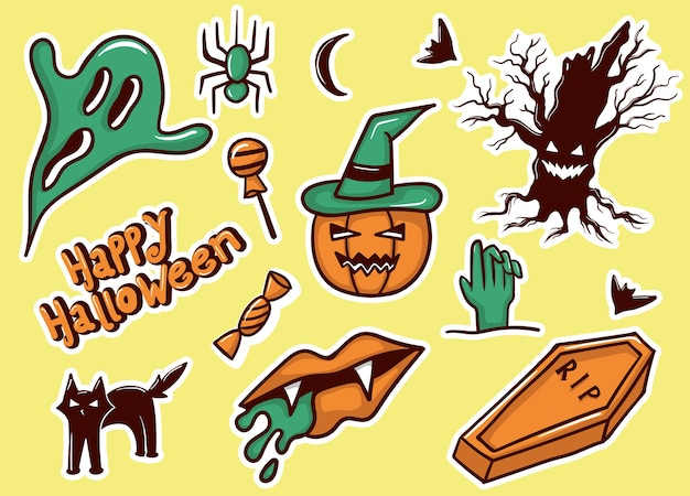 Colorful hand drawn halloween stickers collection
