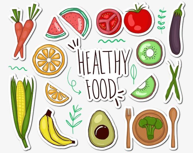 Коллекция красочных рисованной здоровой пищи