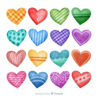 Colorful hand drawn heart collection