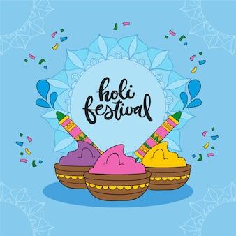 Красочный фестиваль рисованной холи
