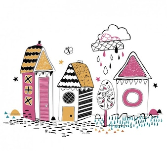 Colorful hand drawn houses