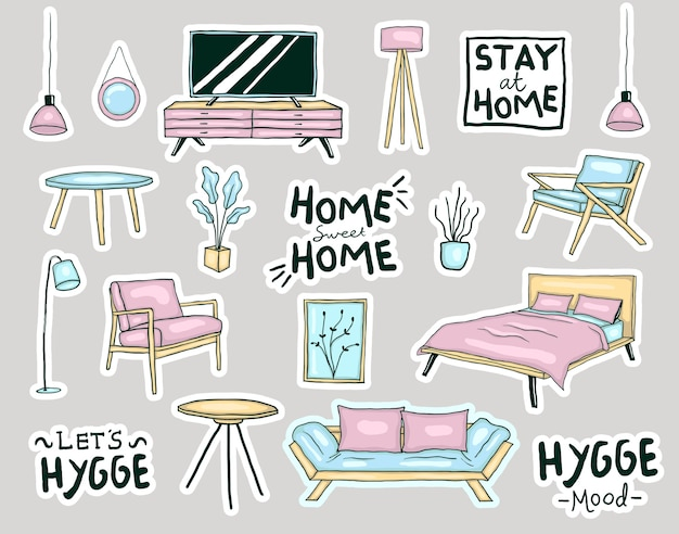 Colorful hand drawn hygge style home furniture stickers collection