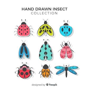 Красочный пакет рисованной насекомых