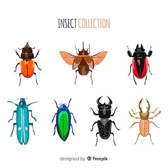 カラフルな手描きの昆虫パック