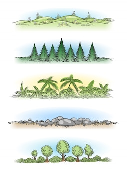 Colorful hand drawn landscapes with trees