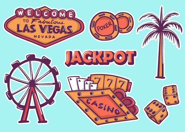 Colorful hand drawn las vegas stickers collection