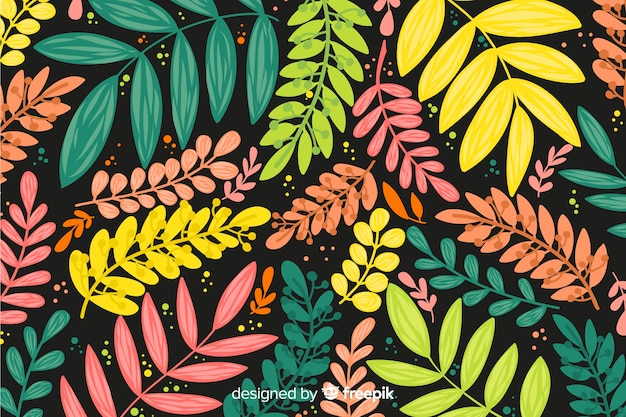 Colorful hand drawn leaves background
