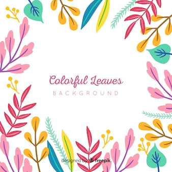 Colorful hand drawn leaves frame background