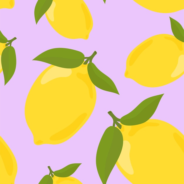 Colorful hand drawn lemon pattern