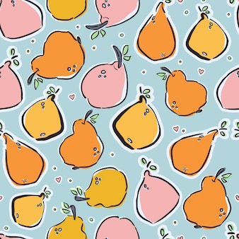 Colorful hand-drawn lemons and pears in vector seamless pattern
