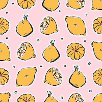 Colorful hand-drawn lemons and tangerines seamless pattern