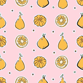 Colorful hand-drawn lemons and tangerines in  seamless pattern