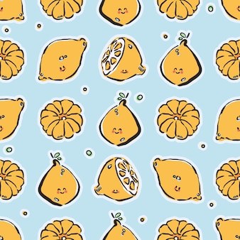Colorful hand-drawn lemons and tangerines in  seamless pattern Premium Vector