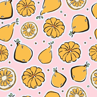 Colorful hand-drawn lemons and tangerines in vector seamless pattern.