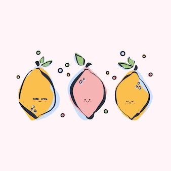 カラフルな手描きのレモン
