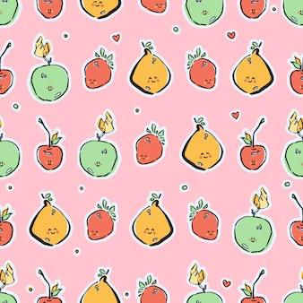 シームレスなパターンベクトルでカラフルな手描きのフルーツ