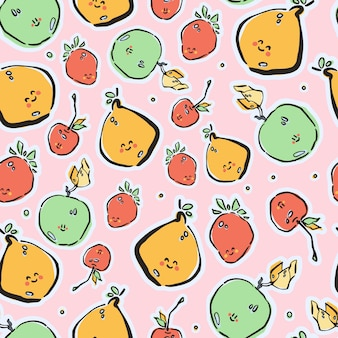 Colorful hand-drawn lfruits in vector seamless pattern