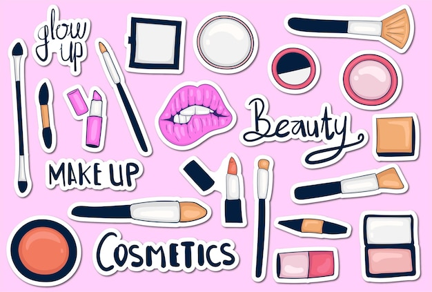 Colorful hand drawn make up tools sticker collection