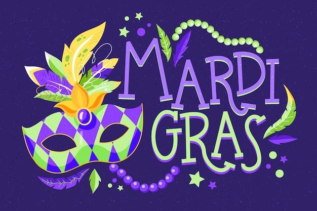 Colorful hand drawn mardi gras concept