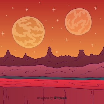 Colorful hand drawn mars background