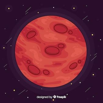 Marte disegnato a mano colorato sfondo