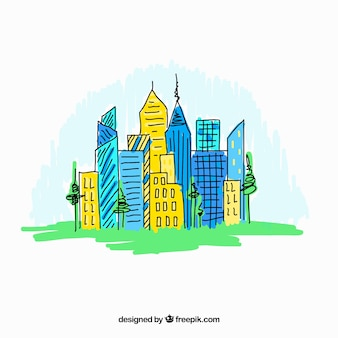 Красочные ручной обращается современный фон город
