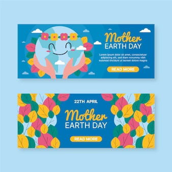 Colorful hand drawn mother earth day banner