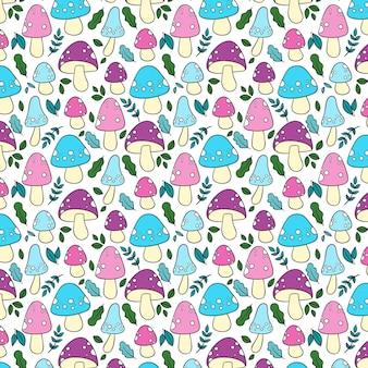 다채로운 손으로 그린 버섯 패턴