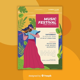 Colorful hand drawn music festival poster template