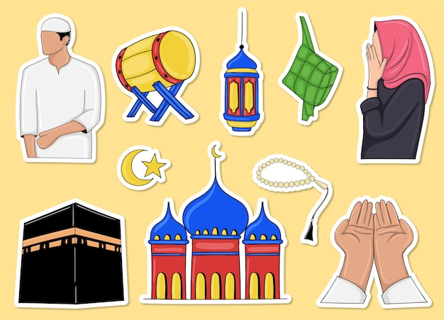 Colorful hand drawn muslim element sticker collection