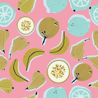 Colorful hand-drawn pears, bananas, passion fruits, lemons and limes seamless pattern