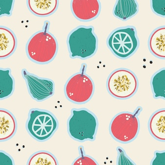 Colorful hand-drawn pears, passion fruits, lemons and limes, seamless pattern