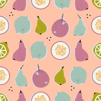 Colorful hand-drawn pears, passion fruits, lemons and limes in  seamless pattern