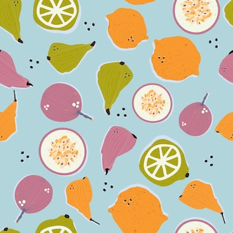 Colorful hand-drawn pears, passion fruits, lemons and limes in vector seamless pattern