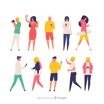 Colorful hand drawn people doing different actions