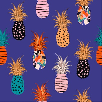 Colorful  hand drawn pineapple hand sketch line pattern